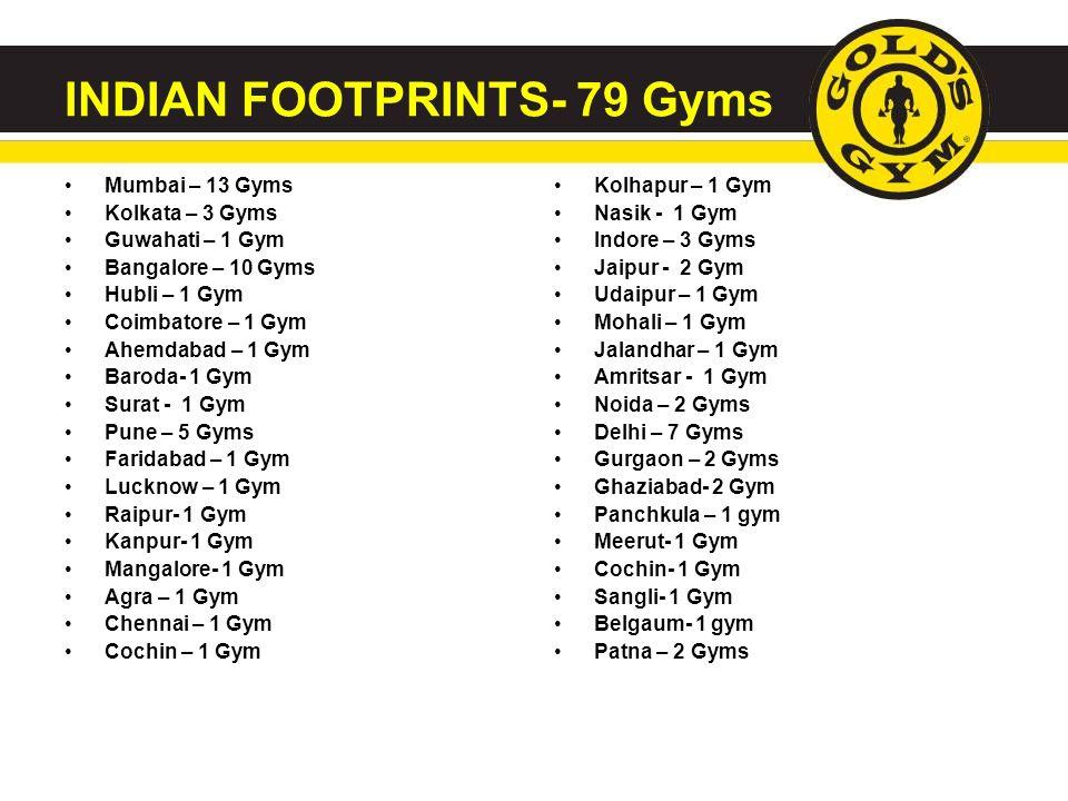 INDIAN FOOTPRINTS- 79 Gyms Mumbai – 13 Gyms Kolkata – 3 Gyms Guwahati – 1 Gym Bangalore – 10 Gyms Hubli – 1 Gym Coimbatore – 1 Gym Ahemdabad – 1 Gym B