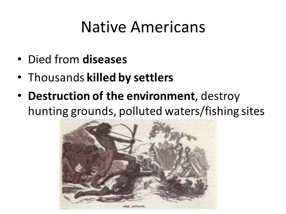 Native Americans Died from diseases Thousands killed by settlers Destruction of the environment, destroy hunting grounds, polluted waters/fishing sites