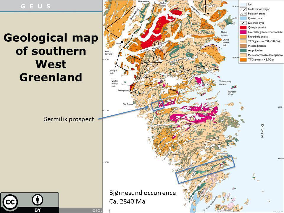 Geological map of southern West Greenland Bjørnesund occurrence Ca. 2840 Ma Sermilik prospect