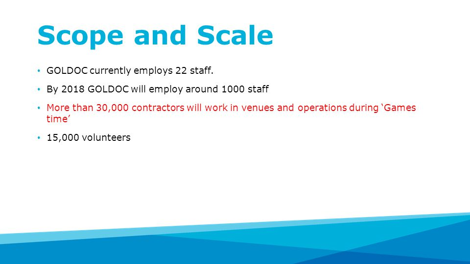Scope and Scale GOLDOC currently employs 22 staff.