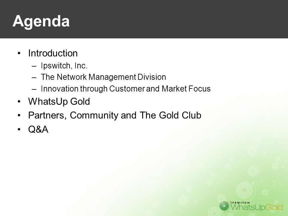 Agenda Introduction –Ipswitch, Inc. –The Network Management Division –Innovation through Customer and Market Focus WhatsUp Gold Partners, Community an
