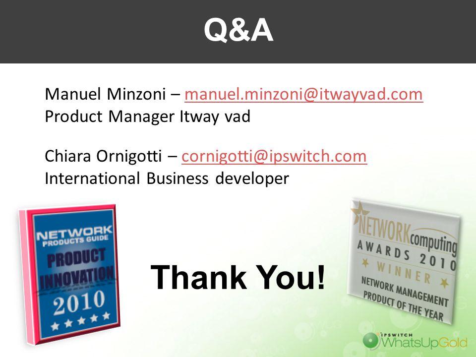 Thank You! Manuel Minzoni – manuel.minzoni@itwayvad.commanuel.minzoni@itwayvad.com Product Manager Itway vad Chiara Ornigotti – cornigotti@ipswitch.co