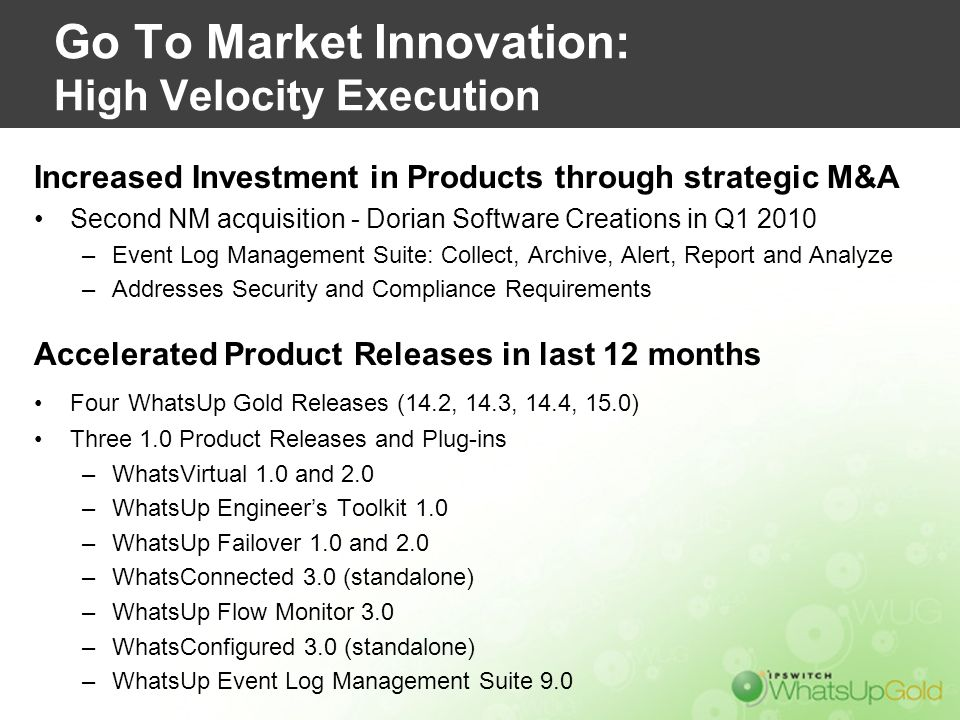 Go To Market Innovation: High Velocity Execution Increased Investment in Products through strategic M&A Second NM acquisition - Dorian Software Creati