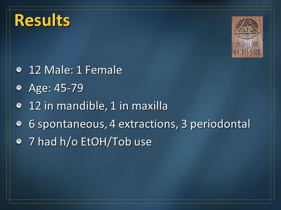 Results 12 Male: 1 Female Age: 45-79 12 in mandible, 1 in maxilla 6 spontaneous, 4 extractions, 3 periodontal 7 had h/o EtOH/Tob use