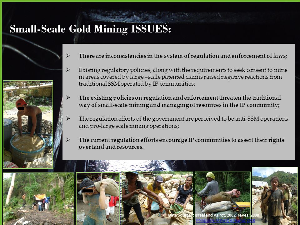 Small-Scale Gold Mining CHALLENGES: Data Sources: Israel and Asirot, 2002 Teves, 2008 Philippine Mining Almanac 2010 There is a need to re-visit and amend small-scale mining law (i.e.