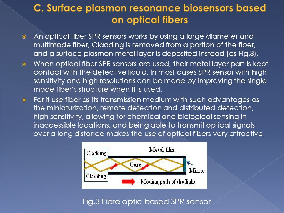 An optical fiber SPR sensors works by using a large diameter and multimode fiber, Cladding is removed from a portion of the fiber, and a surface plasm