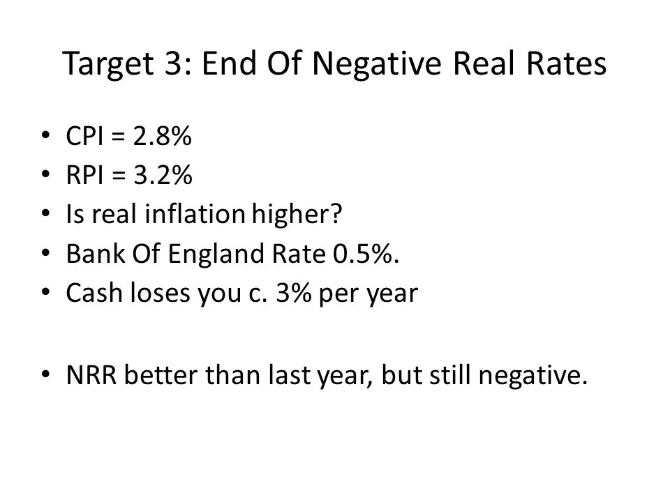 Target 3: End Of Negative Real Rates CPI = 2.8% RPI = 3.2% Is real inflation higher? Bank Of England Rate 0.5%. Cash loses you c. 3% per year NRR bett