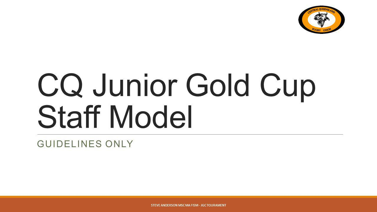 CQ Junior Gold Cup Staff Model GUIDELINES ONLY STEVE ANDERSON MSC MA FISM - JGC TOURAMENT