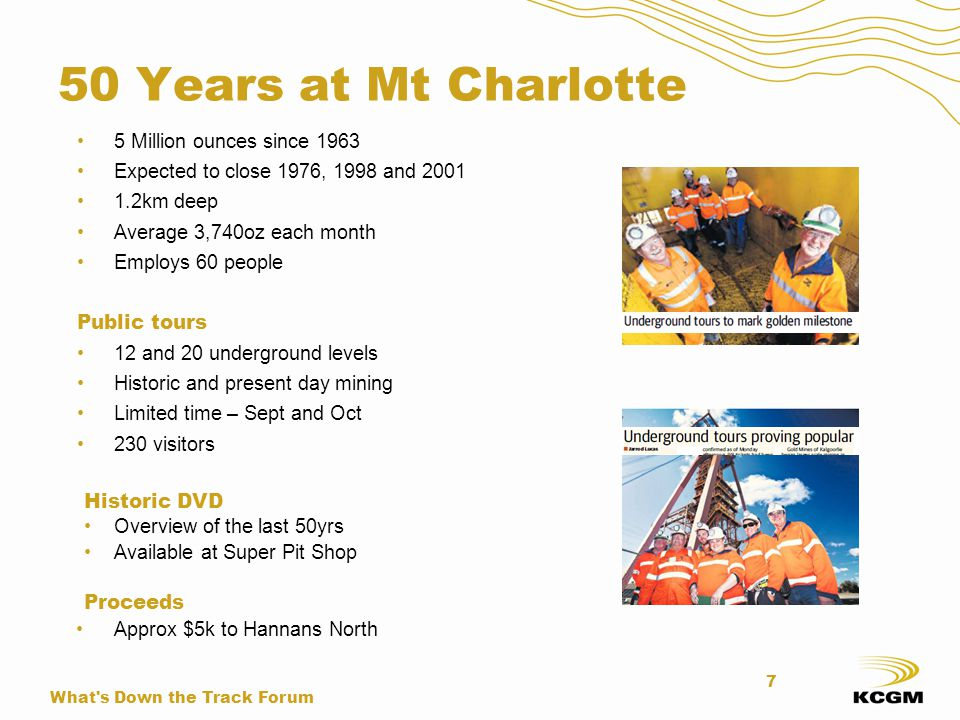 50 Years at Mt Charlotte 5 Million ounces since 1963 Expected to close 1976, 1998 and 2001 1.2km deep Average 3,740oz each month Employs 60 people Pub