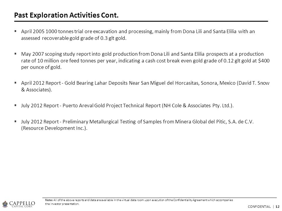 12 CONFIDENTIAL   Past Exploration Activities Cont. April 2005 1000 tonnes trial ore excavation and processing, mainly from Dona Lili and Santa Elilia