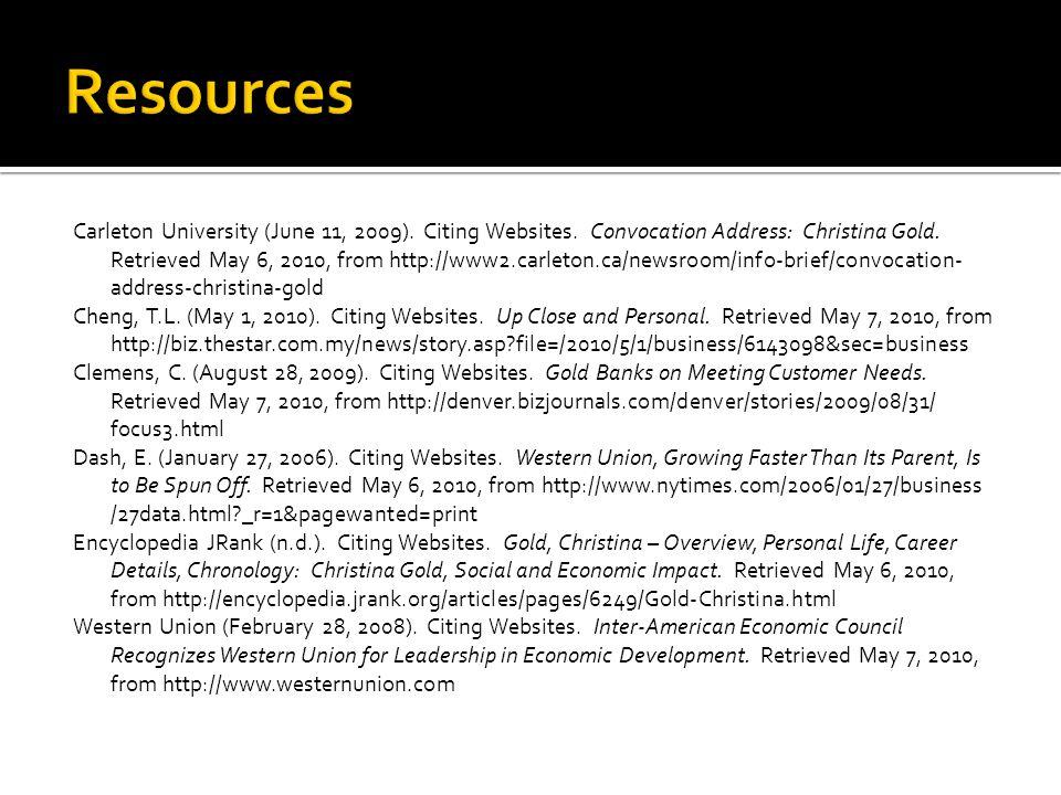 Carleton University (June 11, 2009). Citing Websites.