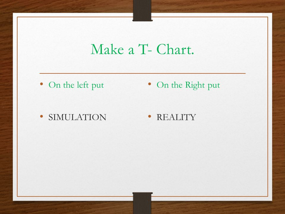 Make a T- Chart. On the left put SIMULATION On the Right put REALITY