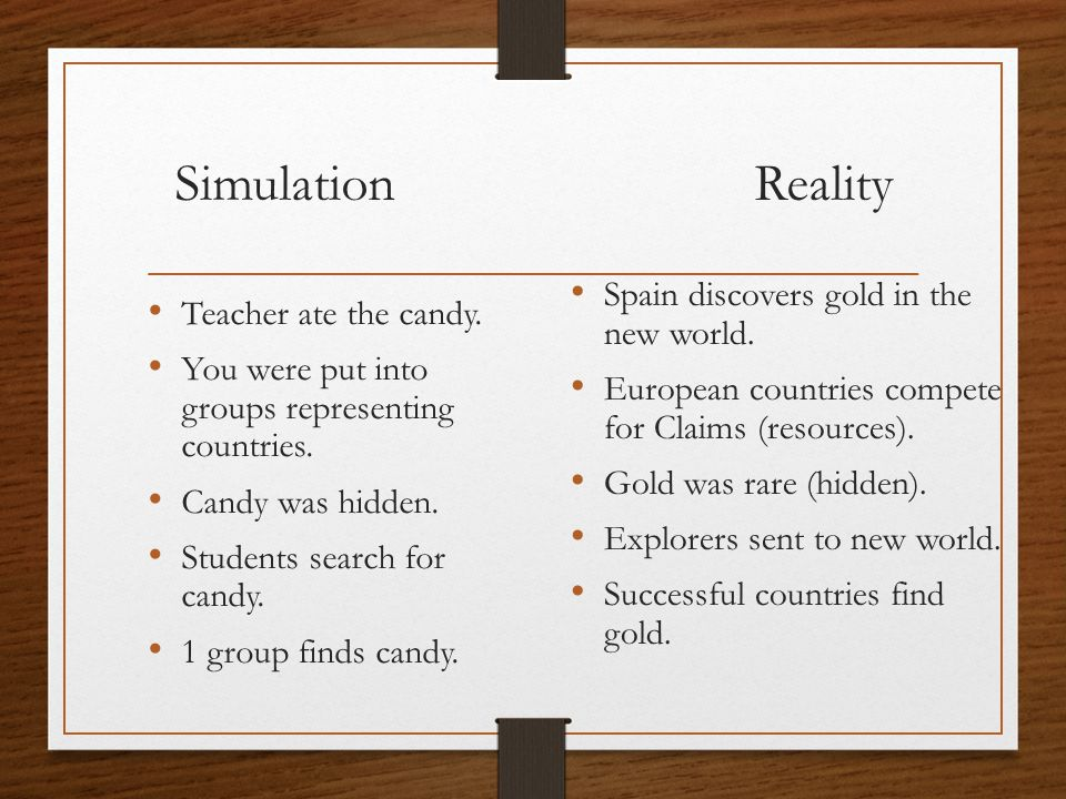 Simulation Reality Teacher ate the candy. You were put into groups representing countries.