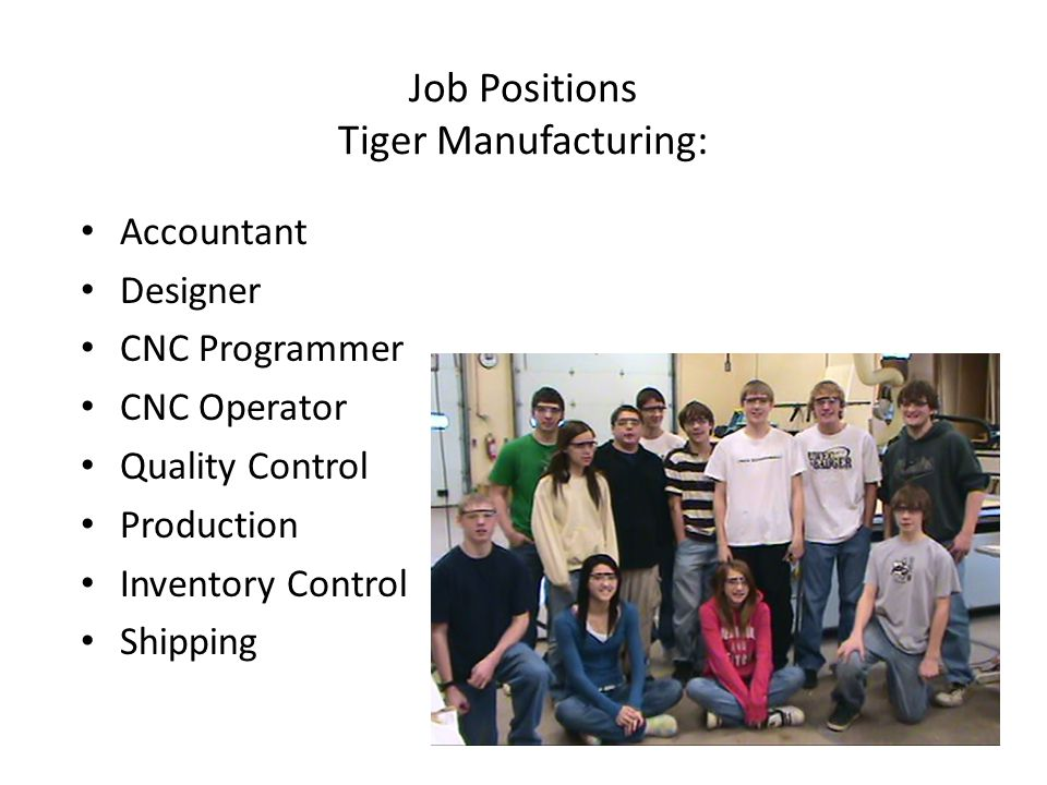Job Positions Tiger Manufacturing: Accountant Designer CNC Programmer CNC Operator Quality Control Production Inventory Control Shipping