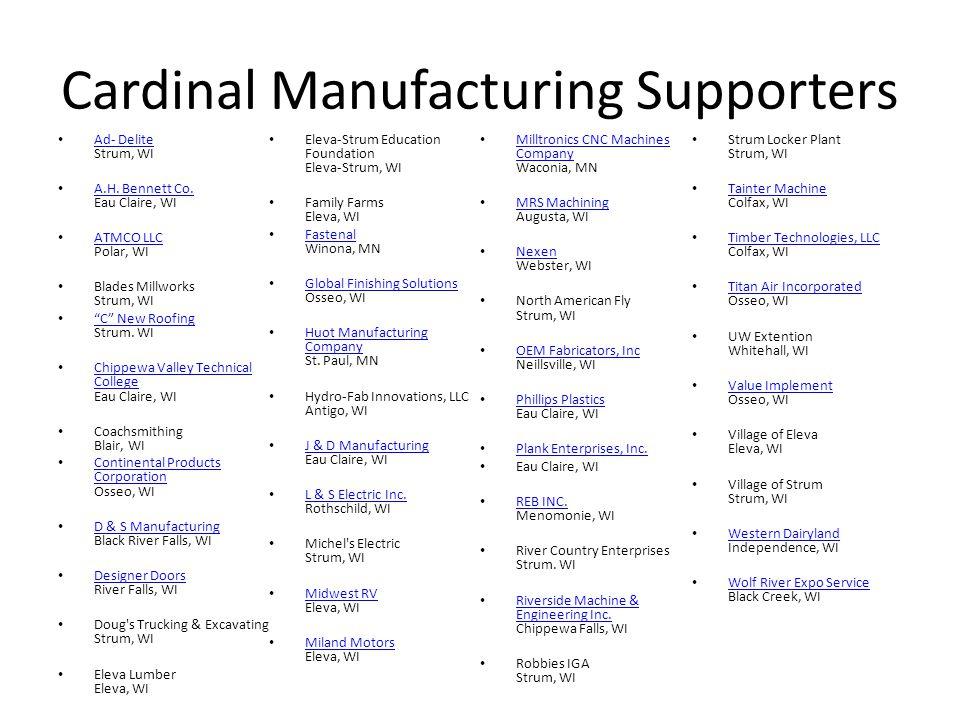 Cardinal Manufacturing Supporters Ad- Delite Strum, WI Ad- Delite A.H.