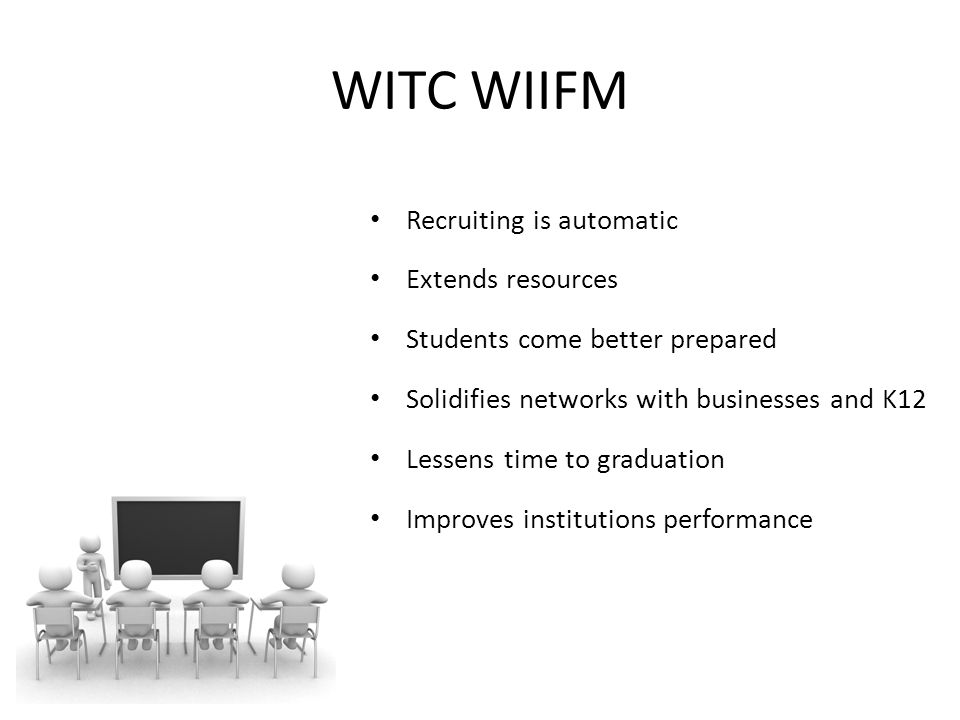 WITC WIIFM Recruiting is automatic Extends resources Students come better prepared Solidifies networks with businesses and K12 Lessens time to graduation Improves institutions performance