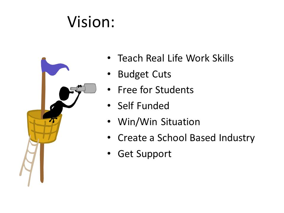 Vision: Teach Real Life Work Skills Budget Cuts Free for Students Self Funded Win/Win Situation Create a School Based Industry Get Support