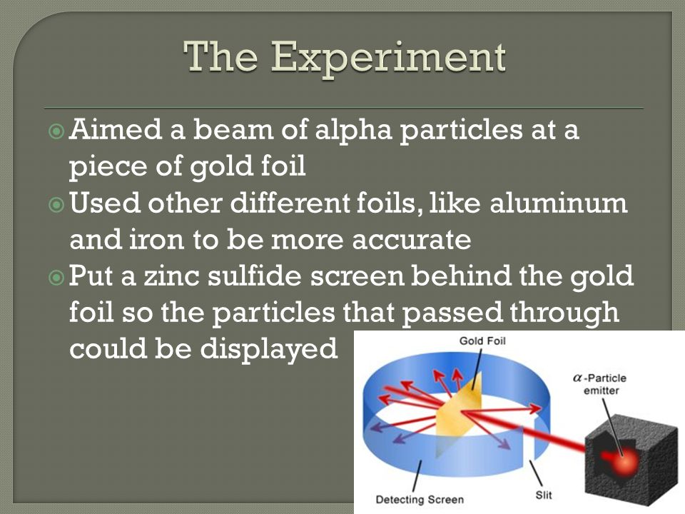 Aimed a beam of alpha particles at a piece of gold foil Used other different foils, like aluminum and iron to be more accurate Put a zinc sulfide scre
