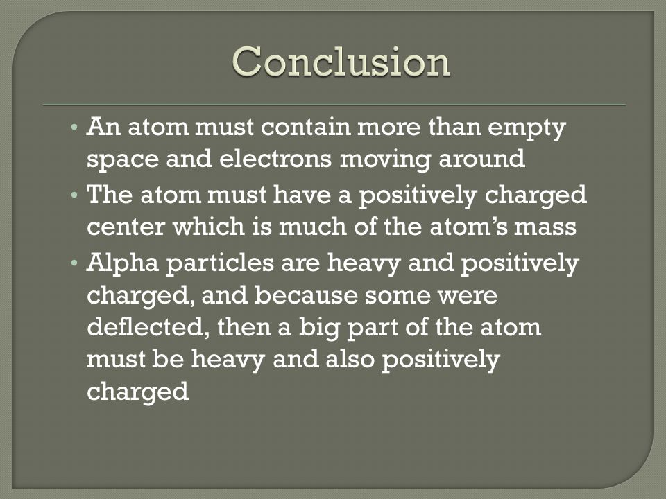 An atom must contain more than empty space and electrons moving around The atom must have a positively charged center which is much of the atoms mass Alpha particles are heavy and positively charged, and because some were deflected, then a big part of the atom must be heavy and also positively charged