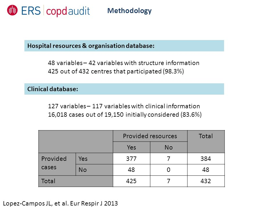 Methodology Lopez-Campos JL, et al. Eur Respir J 2013 48 variables – 42 variables with structure information 425 out of 432 centres that participated