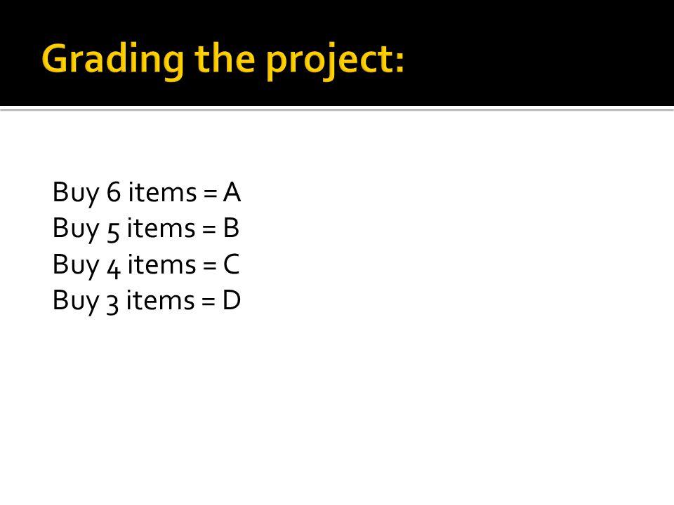 Buy 6 items = A Buy 5 items = B Buy 4 items = C Buy 3 items = D