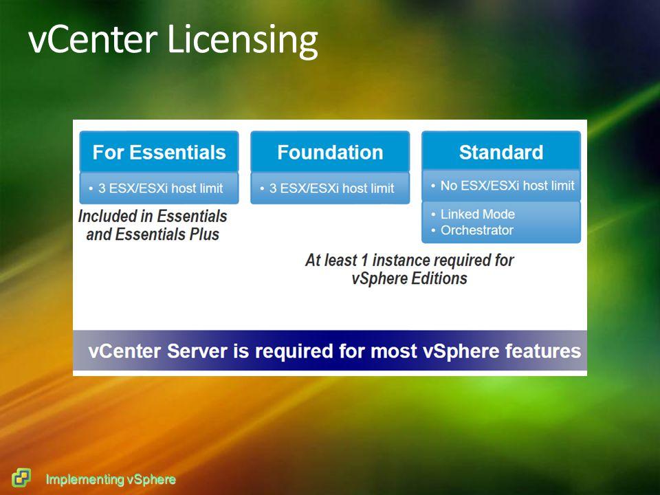 Implementing vSphere vCenter Licensing