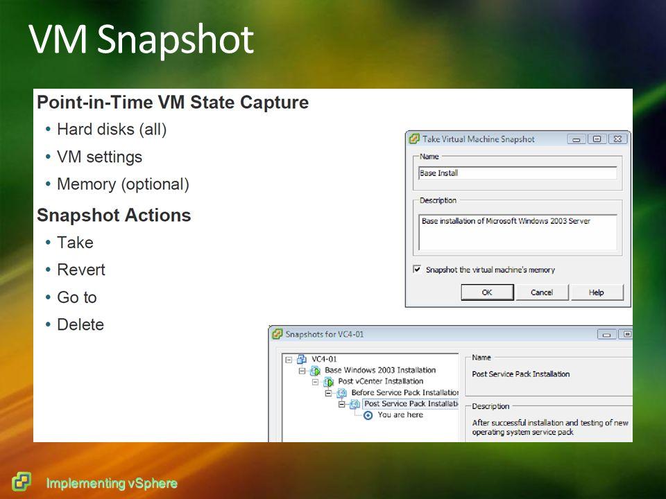 Implementing vSphere VM Snapshot