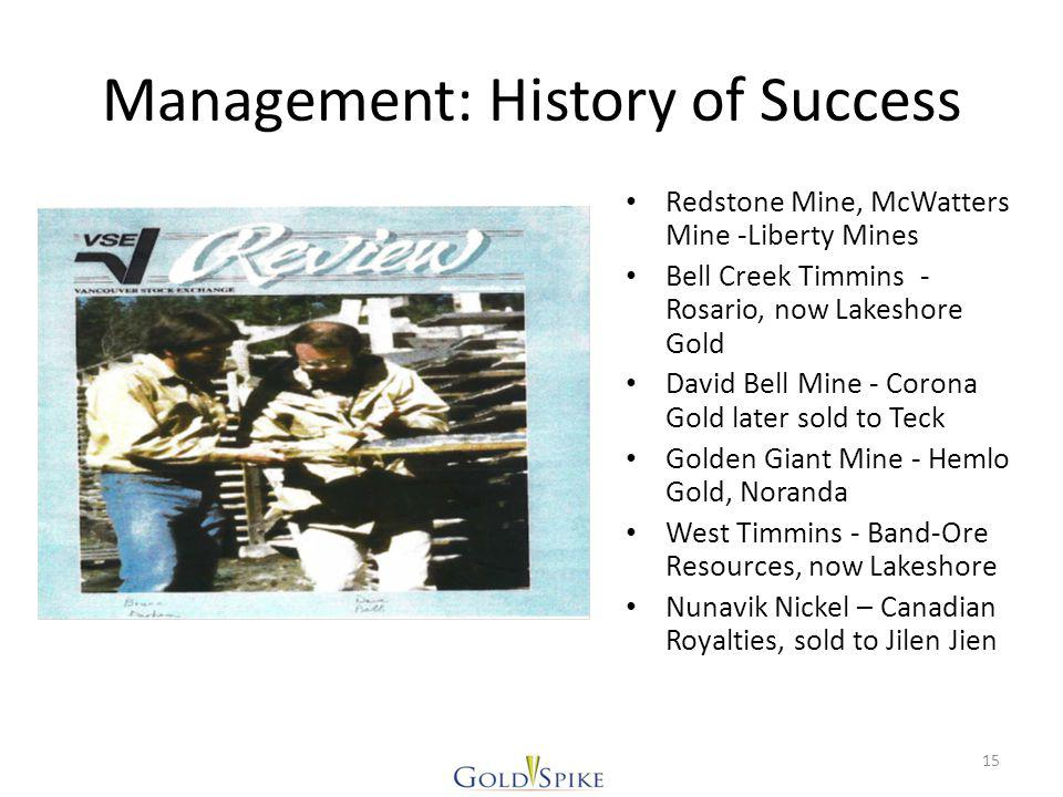 Management: History of Success Redstone Mine, McWatters Mine -Liberty Mines Bell Creek Timmins - Rosario, now Lakeshore Gold David Bell Mine - Corona Gold later sold to Teck Golden Giant Mine - Hemlo Gold, Noranda West Timmins - Band-Ore Resources, now Lakeshore Nunavik Nickel – Canadian Royalties, sold to Jilen Jien 15