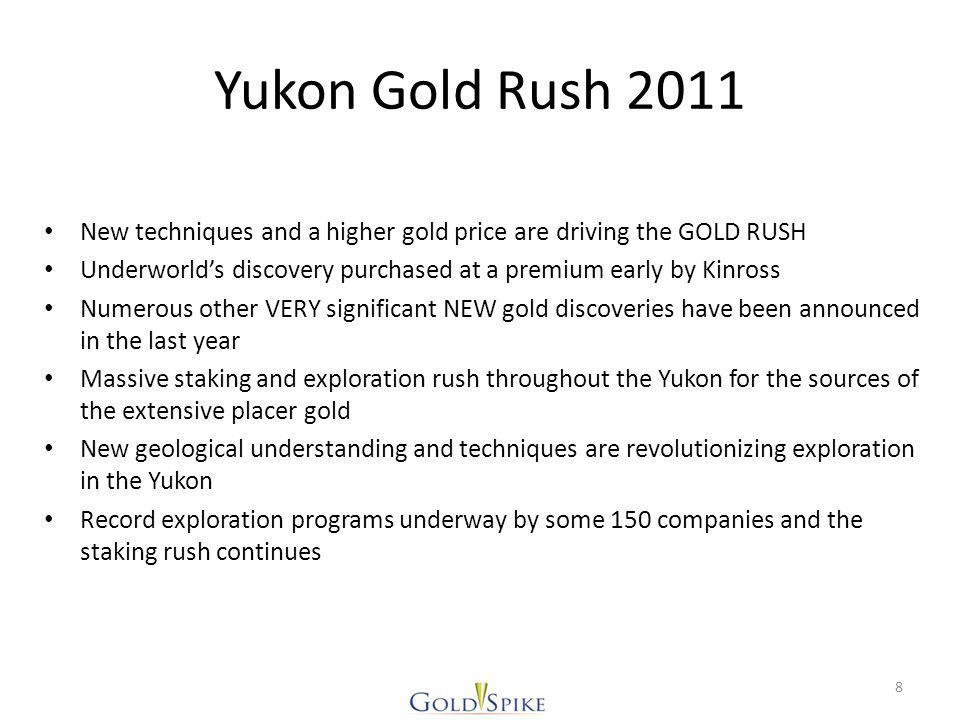 Neighbours Valuations CompanyShares o/s (Million) PriceMarket Cap (Millions) Symbol Kaminak Gold68.75$3.15$217KAM Golden Predator114.96$0.77$89GPD Atac Resources96.50$4.38$423ATC Ryan Gold90.46$1.01$91RYG Goldstrike43.92$0.63$28GSR Silver Quest97.0$1.27$123SQI Strategic Metals89.74$1.35$121SMD Goldspike Exploration43$0.45$20GSE As of November 2/11 19