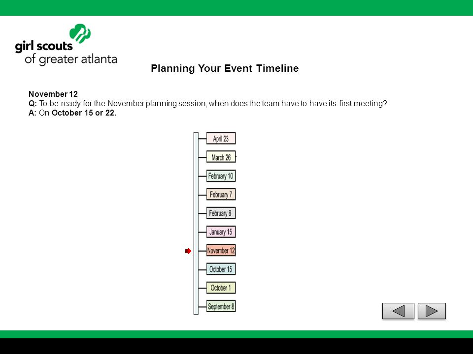 Planning Your Event Timeline November 12 Q: To be ready for the November planning session, when does the team have to have its first meeting? A: On Oc