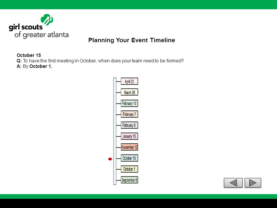 Planning Your Event Timeline October 15 Q: To have the first meeting in October, when does your team need to be formed? A: By October 1.