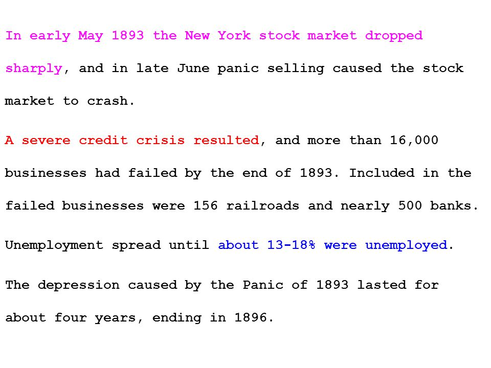 In early May 1893 the New York stock market dropped sharply, and in late June panic selling caused the stock market to crash.