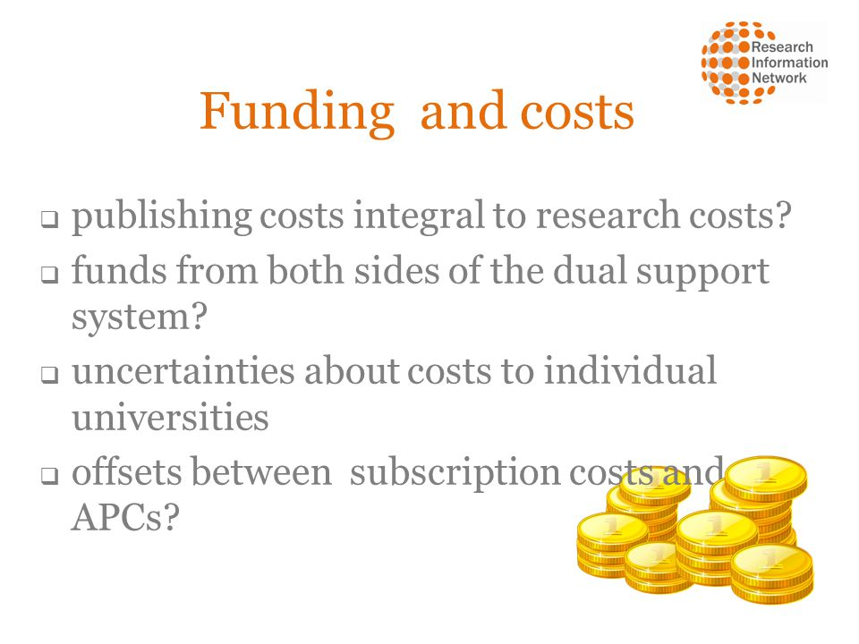 Funding and costs publishing costs integral to research costs.