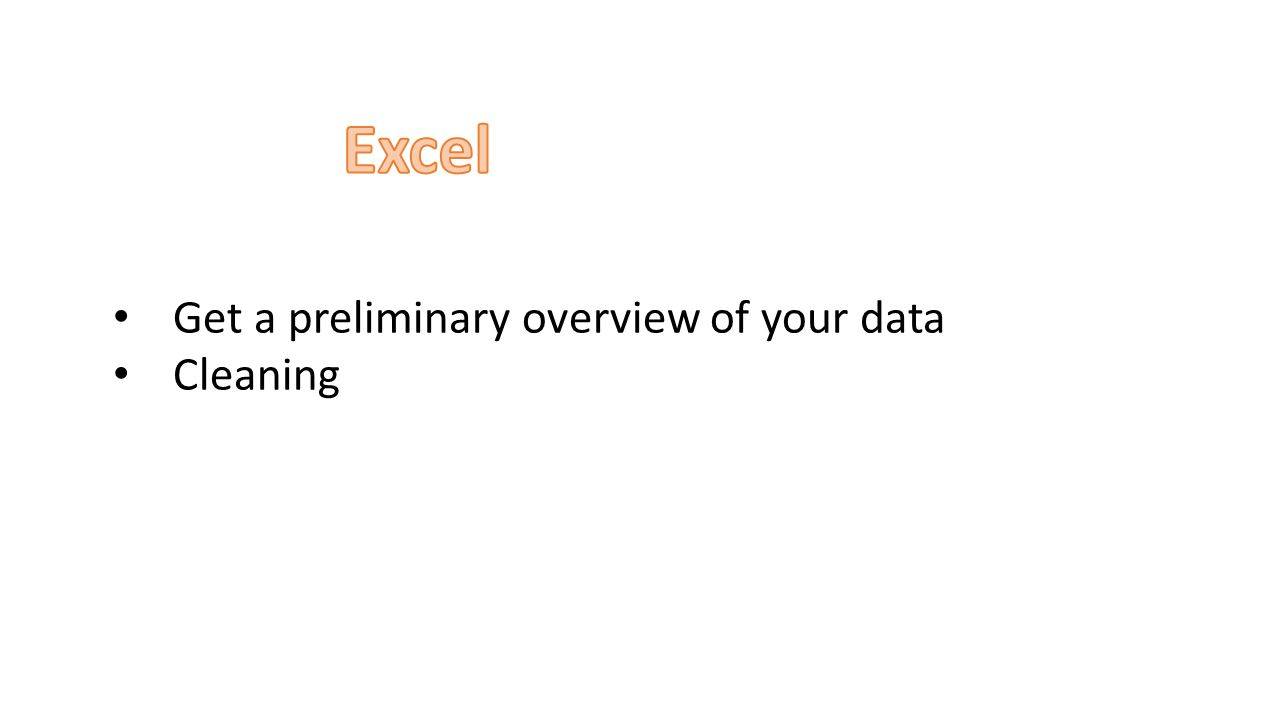 Get a preliminary overview of your data Cleaning