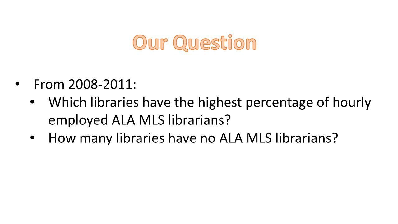 Identify relevant columns Total staff hours ALA MLS hours Do calculations %of total staff hours are ALA MLS