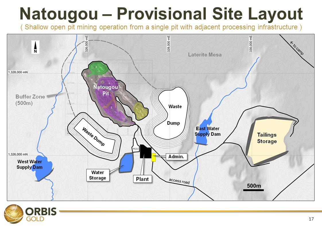 17 Natougou – Provisional Site Layout ( Shallow open pit mining operation from a single pit with adjacent processing infrastructure ) ROM