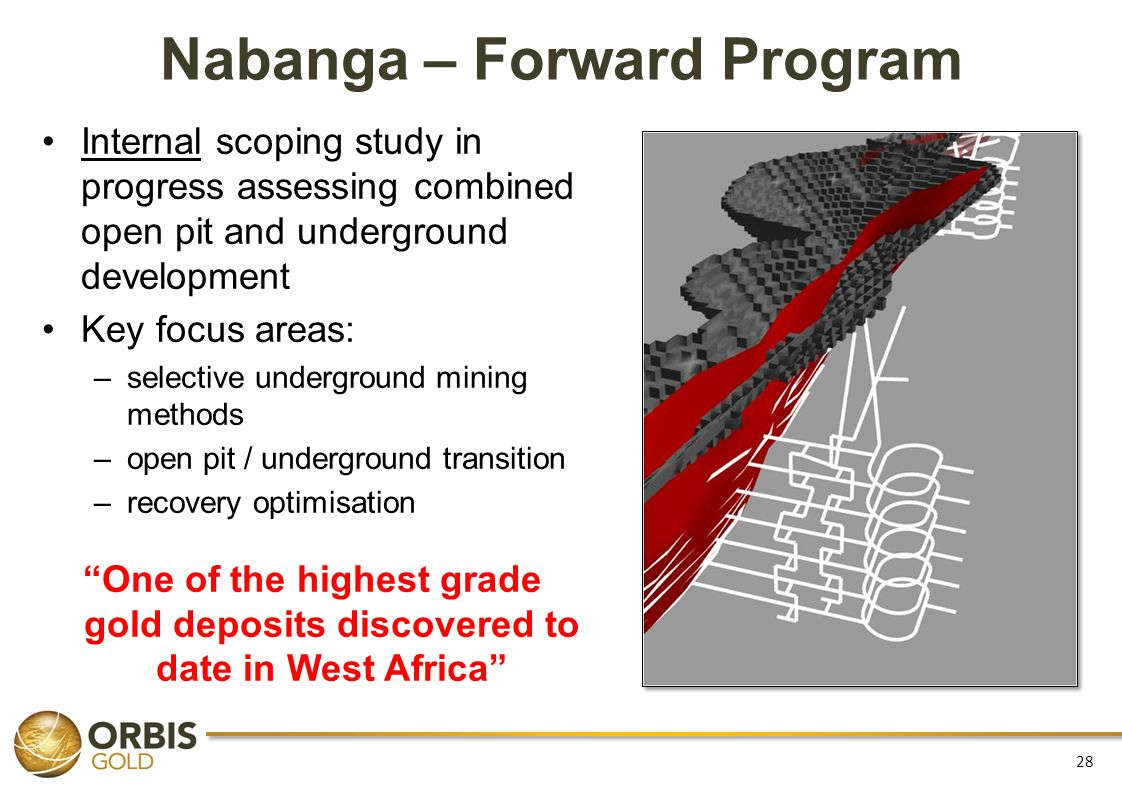 Nabanga – Forward Program Internal scoping study in progress assessing combined open pit and underground development Key focus areas: –selective under