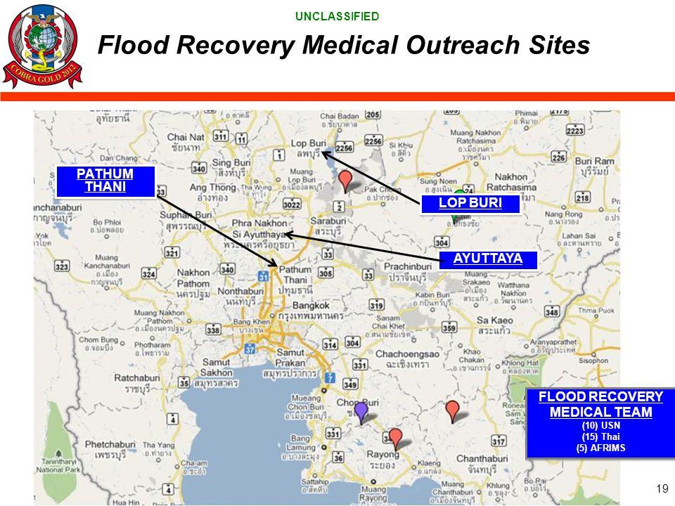 UNCLASSIFIED PATHUM THANI Flood Recovery Medical Outreach Sites LOP BURI AYUTTAYA FLOOD RECOVERY MEDICAL TEAM (10) USN (15) Thai (5) AFRIMS FLOOD RECO