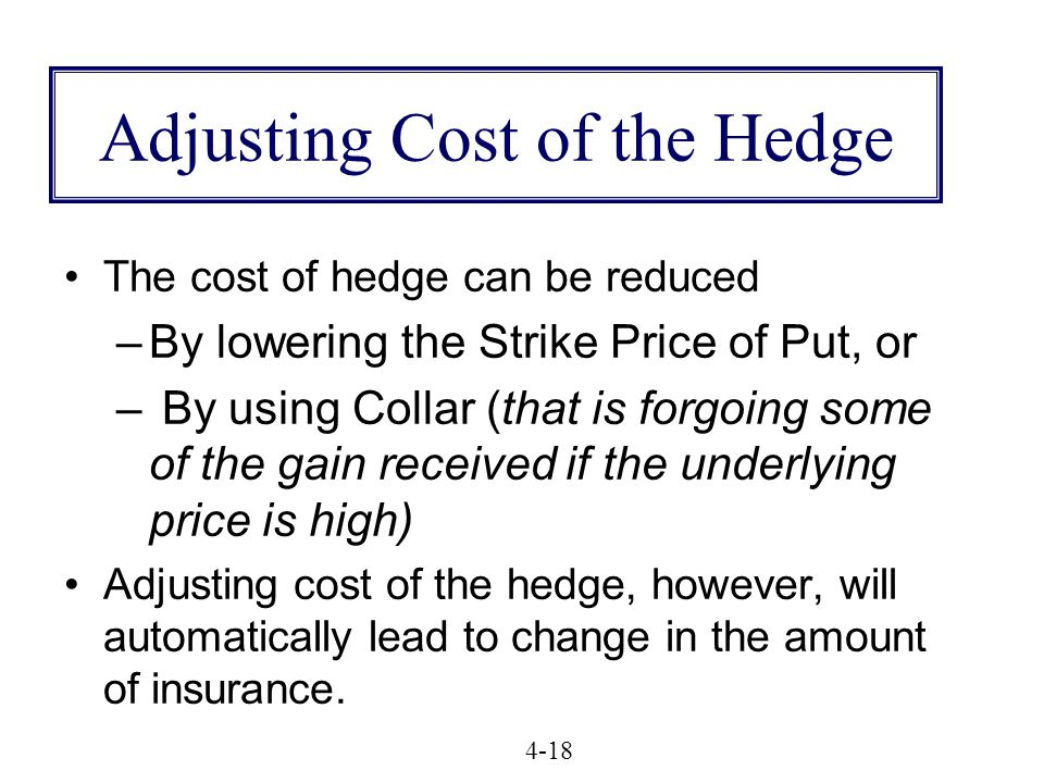Adjusting Cost of the Hedge The cost of hedge can be reduced –By lowering the Strike Price of Put, or – By using Collar (that is forgoing some of the gain received if the underlying price is high) Adjusting cost of the hedge, however, will automatically lead to change in the amount of insurance.
