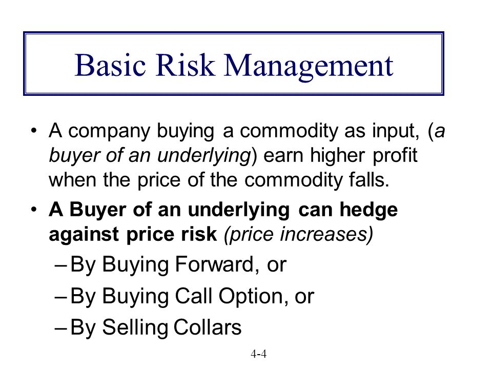 Basic Risk Management A company buying a commodity as input, (a buyer of an underlying) earn higher profit when the price of the commodity falls.
