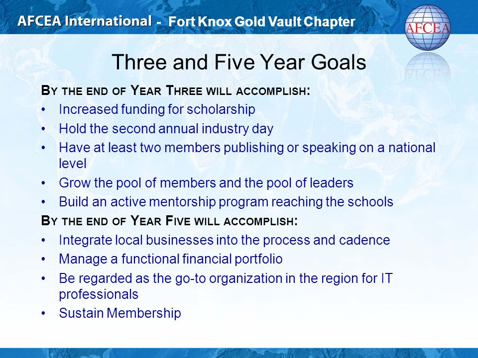 - Fort Knox Gold Vault Chapter Three and Five Year Goals B Y THE END OF Y EAR T HREE WILL ACCOMPLISH : Increased funding for scholarship Hold the second annual industry day Have at least two members publishing or speaking on a national level Grow the pool of members and the pool of leaders Build an active mentorship program reaching the schools B Y THE END OF Y EAR F IVE WILL ACCOMPLISH : Integrate local businesses into the process and cadence Manage a functional financial portfolio Be regarded as the go-to organization in the region for IT professionals Sustain Membership