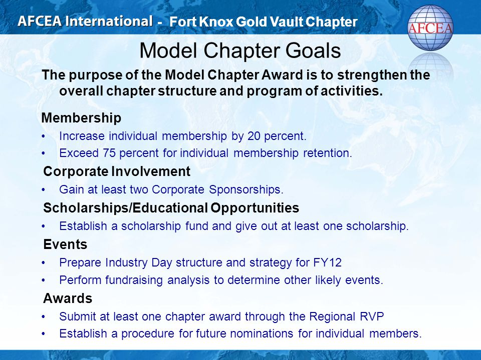 - Fort Knox Gold Vault Chapter Model Chapter Goals The purpose of the Model Chapter Award is to strengthen the overall chapter structure and program of activities.