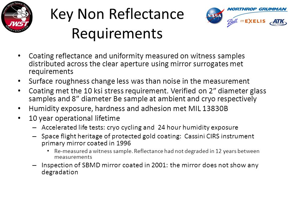 Key Non Reflectance Requirements Coating reflectance and uniformity measured on witness samples distributed across the clear aperture using mirror surrogates met requirements Surface roughness change less was than noise in the measurement Coating met the 10 ksi stress requirement.