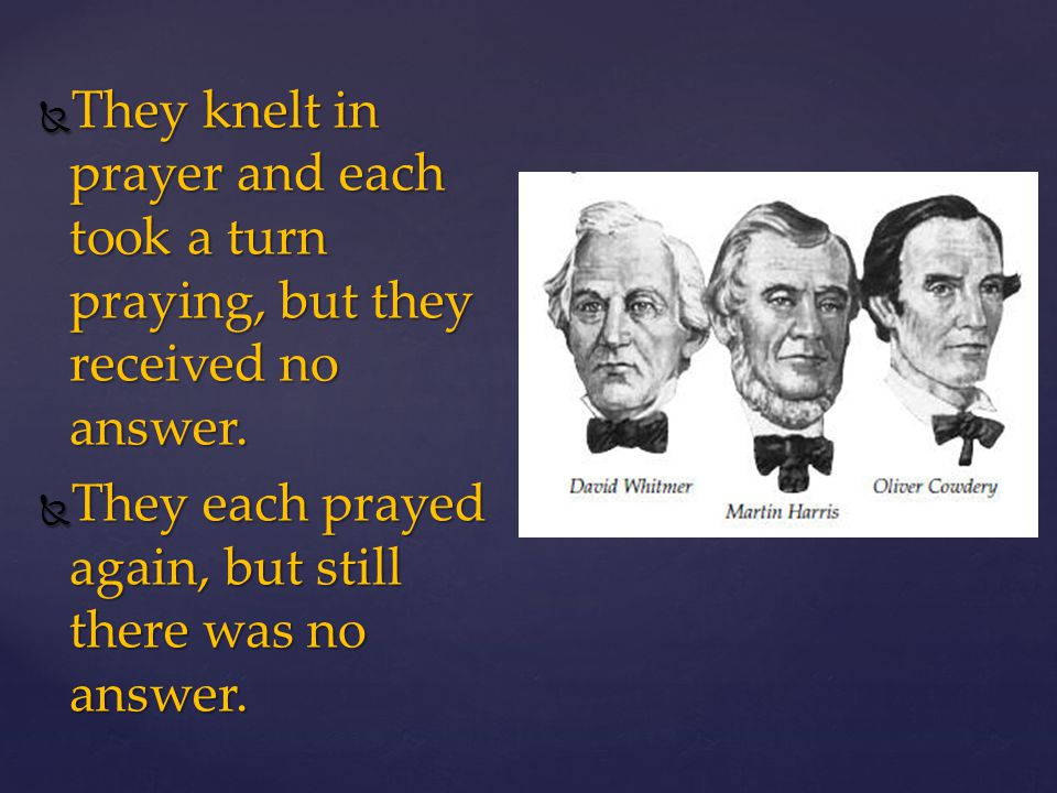 What happened when Joseph Smith, Oliver Cowdery, David Whitmer, and Martin Harris went into the woods to pray about being witnesses? What happened whe