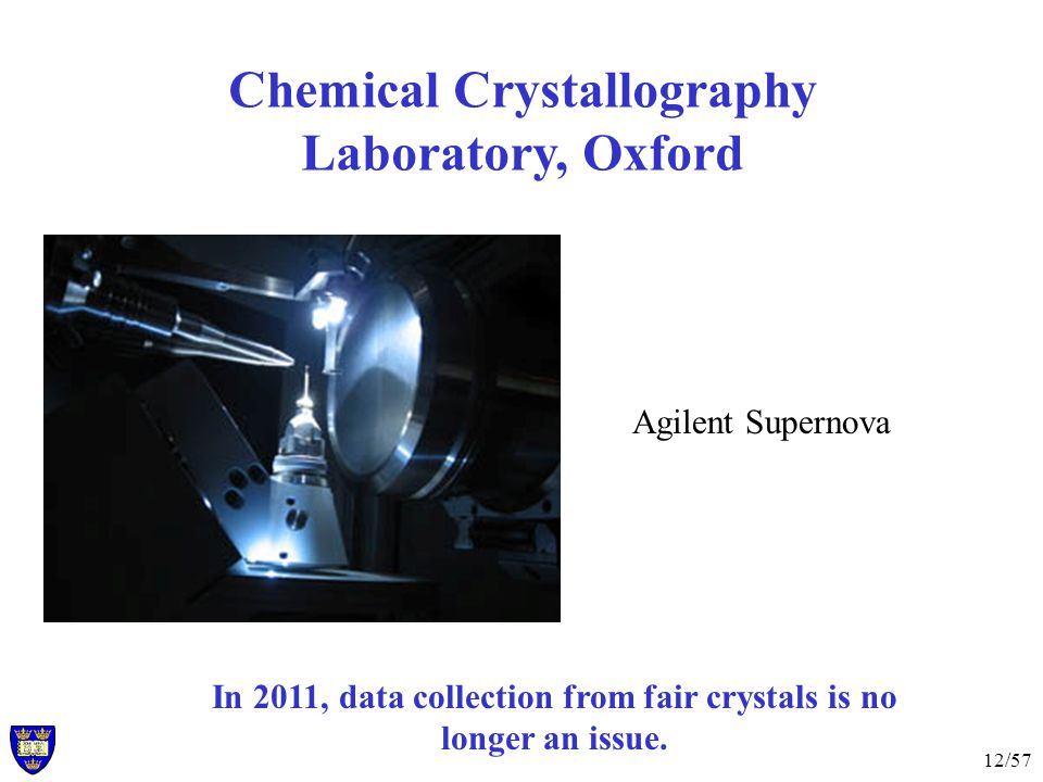 12/57 Chemical Crystallography Laboratory, Oxford In 2011, data collection from fair crystals is no longer an issue.
