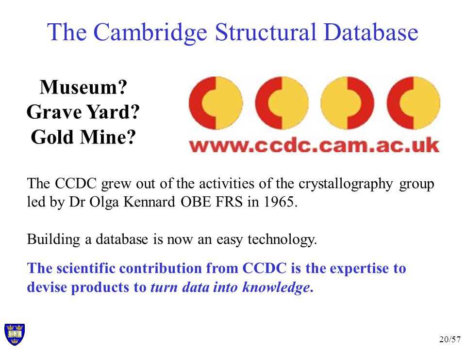 20/57 The Cambridge Structural Database The CCDC grew out of the activities of the crystallography group led by Dr Olga Kennard OBE FRS in 1965.