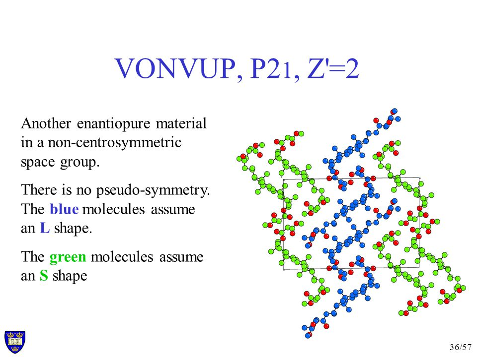 36/57 VONVUP, P2 1, Z =2 Another enantiopure material in a non-centrosymmetric space group.