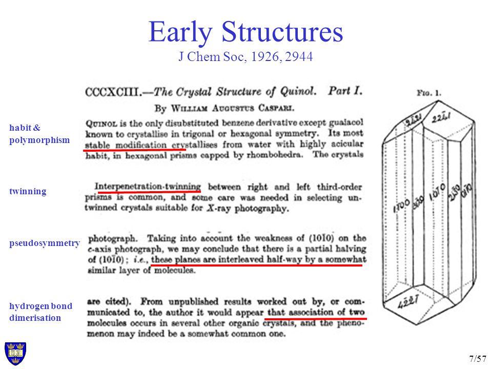 7/57 Early Structures J Chem Soc, 1926, 2944 habit & polymorphism twinning pseudosymmetry hydrogen bond dimerisation