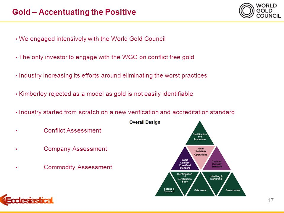 18 Gold – Accentuating the Positive EIM led investor engagement with WGC on global conflict-gold standard Held two seminars for investors in London to outline the Standard Offered advise on draft Standard Remained an informed and engaged investor throughout process Concluded Gold ETF could be held given the contribution of engaging Engagement and informed contribution significantly added value to our investment And all because we asked….