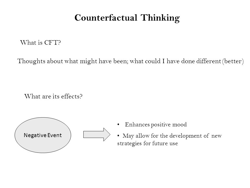 Counterfactual Thinking Negative Event Enhances positive mood May allow for the development of new strategies for future use What is CFT.